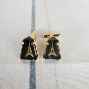 Vtg 60s SWANK Eiffel Tower Gold Resin Cuff Links